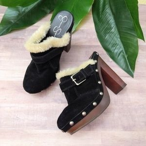 Jessica Simpson black leather suede clogs